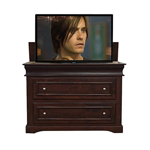 TV Lift – Handcrafted Heritage TV Lift Cabinet + TV Lift Mechanism (Economy System) (40″ TV – Foot of the Bed Cabinet, Dark Mahogany (Finish) – Maple (Wood))