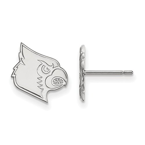 14k White Gold LogoArt Official Licensed Collegiate University of Louisville (UofL) Small Post Earrings by LogoArt