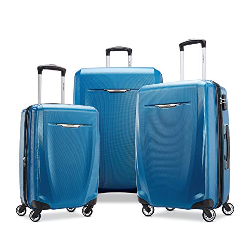Samsonite Winfield 3 DLX Hardside Checked Luggage with Double Spinner Wheels, 3-Piece (20/24/28), Blue/Navy