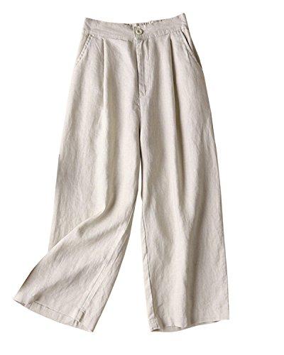 Aeneontrue Women's 100% Linen Wide Leg Pants Capri Trousers Back with Elastic Waist Beige XX-Large