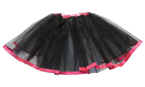 Black Hot Pink Satin Ribbon Lined Dance -