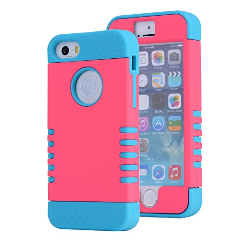 Series Flexible Grommet Material (iPhone SE Case, Asstar [Stand Feature] Durable Soft TPU+PC 3 in 1 Hybird Hard Back All-round Protection Case Suitable for iPhone SE / 5S / 5 (Rose+blue))