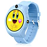 LJRYCQSSZSF Kids Smart Phone Watch GPS Tracker Watches Fit 3-15 Years Old Boys Girls Geak Watch with Touchscreen Sim Card Slot Perfect Children Festival and Birthday Gifts (Blue)