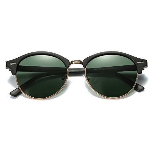 ZHILE Round Clubmaster Sunglasses Polarized for Men and Women (Green lens, 53 (Single - Round Clubmaster