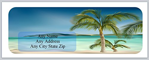 150 Personalized Address Labels Scenic Beach with Palm Trees. (ac 518) ()
