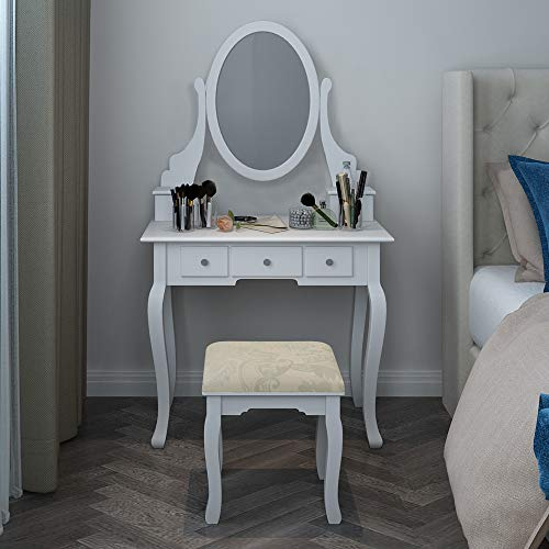 QIHANG-US Dressing Table Set Vanity Makeup Table Set with Mirror Cushioned Stool Drawers for Girls Bedroom Hallway (White)