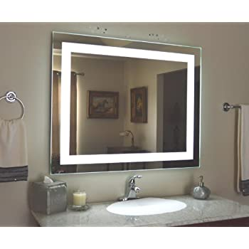 wall mounted lighted vanity mirror led mam84836 commercial grade. Black Bedroom Furniture Sets. Home Design Ideas