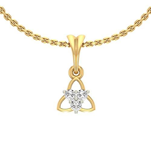 14K Or jaune 0.12CT TW Round-shape Diamant (IJ | SI) diamant Pendentif