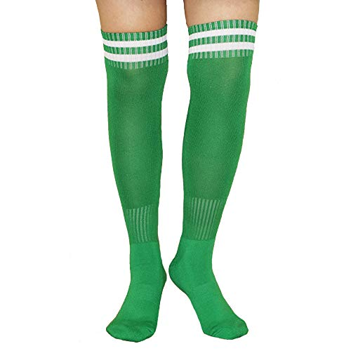 Unisex Boys Girls Classic Knee High Over Calf Towel Bottom Two Bar Stripe Athletic Soccer Footbal Tube Cool Fun Party Cosplay Socks, Green2, Medium