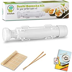 Chefoh All-In-One Sushi Making Kit | Sushi Bazooka, Sushi Mat & Bamboo Chopsticks Set | DIY Rice Roller Machine | Very Easy To Use | Food Grade Plastic Parts Only | Must-Have Kitchen Appliance
