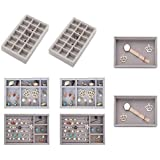 Jewelry Tray Set,Velvet Jewelry Organiser,Jewelry Drawer Tray,Stackable Jewelry Storage Tray for Earring Necklace Bracelet Ring Organiser Display