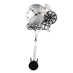 Flameer Industrial Gear Clock Pendulum Wall Clock for Home Bar Shop Modern Art Decoration - Silver