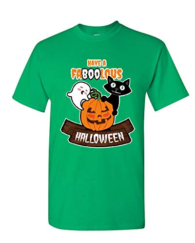Have Faboolous Halloween T-Shirt Funny Ghost Pumpkin Black Cat Mens Tee Shirt Green XL -