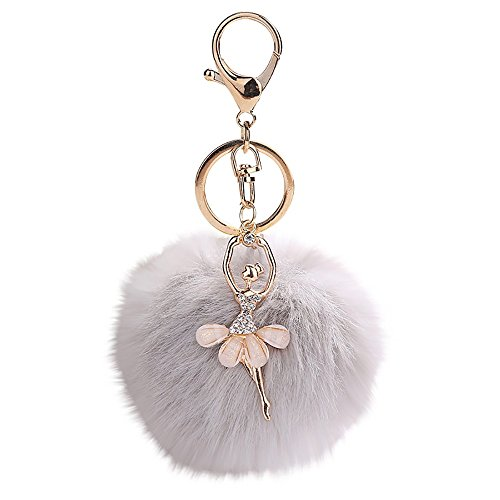 Gbell Pom Pom Keychains for Women Girls-Fluffy Cute Dancing Angel Puffy Ball Key Chains Cell Phone Bags Charm Pendant Gifts,1Pcs 8X8CM,Watermelon Red,Black,Blue,Purple,Khaki,Grey (Grey)