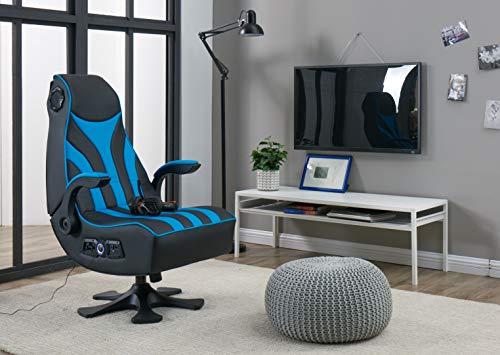 Gaming Chair X Rocker CXR1 2.1 Wireless Ergonomic Vibe Video Game ChairCompatible with MP3/CD/DVD (Black/Blue) X Rocker