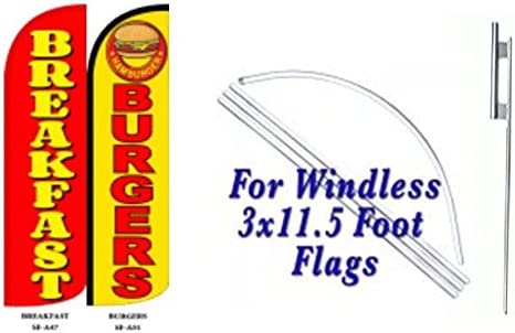 Breakfast Burgers Windless Full Sleeve Extra Protection King Size Swooper Flag with Pole and Ground Spike Pack of 2