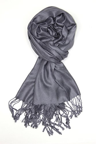 Achillea Soft Silky Solid Pashmina Shawl Wrap Scarf for Wedding Bridesmaid Evening Dress ... (Charcoal Grey)