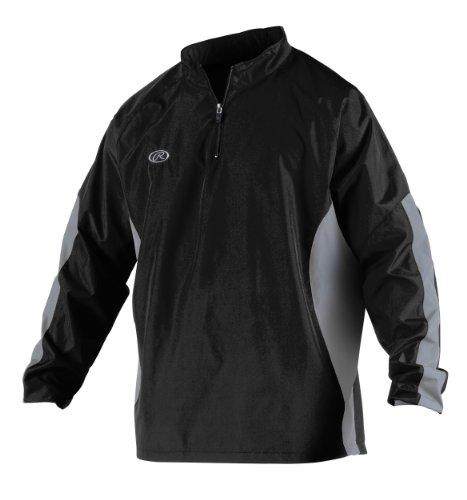 Rawlings Men's Long Sleeve Wind Breaker Jacket, Black, Medium (Baseball Jacket Black)