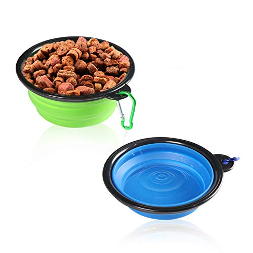 Augie's Doggies ~2-Pack Collapsible Dog Cat Bowls, Food Grade Silicone, BPA Free, Foldable Expandable Cup Dish for Pet Cat Food Water Feeding Portable Travel Bowl, 2 pack Blue and Green with Carabiner
