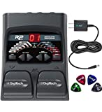 DigiTech RP55 Multi-FX Pedal with Built-In Guitar Tuner Bundle with Blucoil Power Supply Slim AC/DC Adapter for 9 Volt DC 670mA and 4 Blucoil Guitar Picks