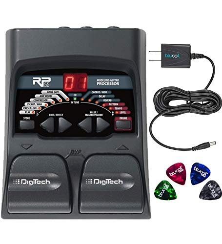 DigiTech RP55 Multi-FX Pedal with Built-In Guitar Tuner Bundle with Blucoil Power Supply Slim AC/DC Adapter for 9 Volt DC 670mA and 4 Blucoil Guitar Picks (Best Drum Pedal For Guitar)