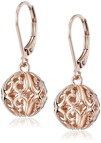 (14k Rose Gold Plated Sterling Silver Filigree Ball Leverback Earrings)