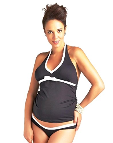 PEZ D'OR Maternity Santorini Black and White Tankini Set L Black