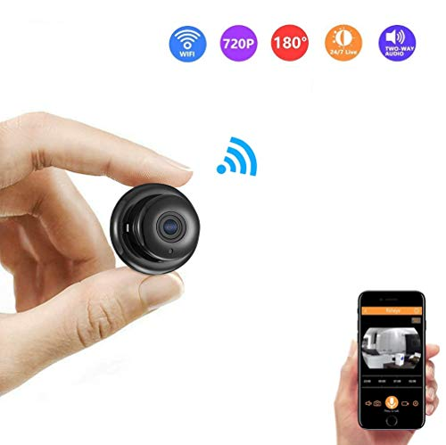 - Mini Wireless Hidden Camera HD 720P Surveillance Camera Small Camera, Fisheye WiFi Security Camera with Night Vision/Two-Way Call/Motion Detection, Home Car Office for iOS&Android(Black)