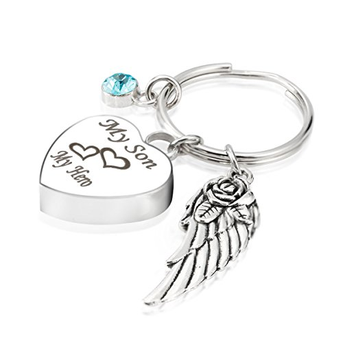 Engraved Personalised My Son My Hero Cremation Urn Jewelry Keychain Memorial Ash Keepsake December Turquoise Birthstone Angel Wings Charms (Engraved Turquoise Pendant)