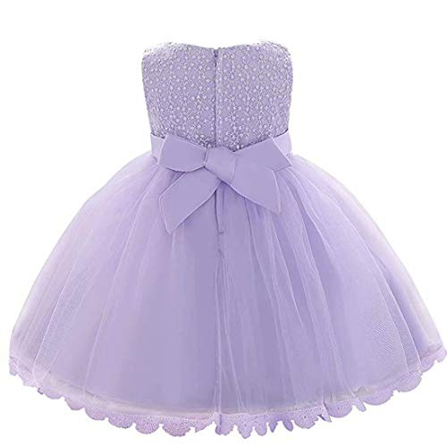 Pageant Baby Girls Dresses Party Girls Dresses Special Occasion Girls Dresses Birthday Toddler Holiday Elegant Girls Dresses Sleeveless Bowknot Cute Gown (Lilac, 60) -
