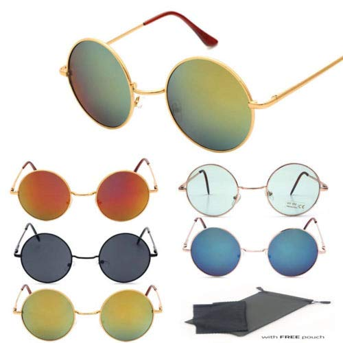 202fe1121e9 Amazon.com  Retro Sunglasses Men Women Vintage Hippie John Lennon Circle  Eyewear Sun Glasses (Gold   Blue)  Garden   Outdoor