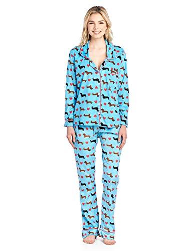 Ashford & Brooks Women's Long Sleeve Minky Micro Fleece Pajama Set- Turquoise Dachshund Dog Love- - Microfleece Dachshund
