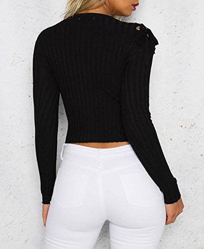 Noir Col Manches Femmes Casual Tricot Blouses Fashion Unie Rond Longues Pulls Bandage t Court T Slim Haut Serr Couleur Crop Tops Chemisiers Shirts YEBqFw