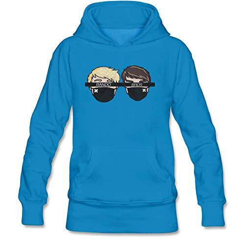 Lookingblue Oil Painting Bando Bros Cartton Head Pullover Hoodies Sweatshirt for Women S Blue
