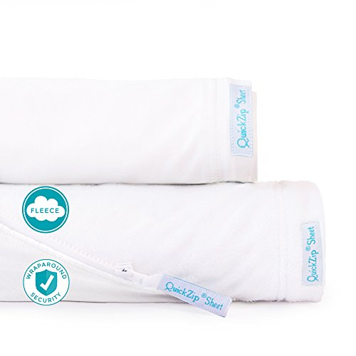 QuickZip 2-Pack, the Zip-On Fitted Sheet that Won't Pop Off | Easy to Change & Fold | Perfect for Bunk Beds, 2 Zip-On Sheets + 1 Wraparound Total Security Base, White/White Fleece, Twin