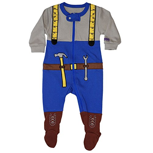 Sozo Boys' Toddler Mr Fixit Footie, Blue, 24