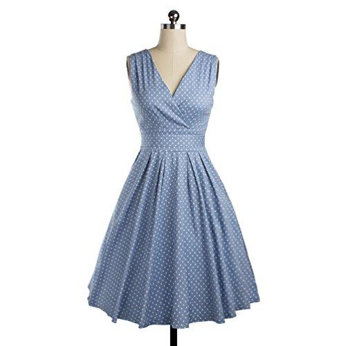 Wenseny Mujer Vestidos Vintage Elegante V-cuello Swing Cóctel de Baile Vestido Azul