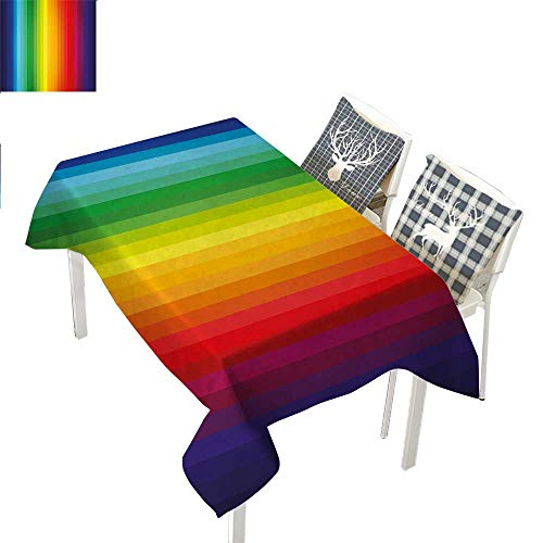 WilliamsDecor Rainbow Dining Table Cover Rainbow Inspired Vertical Lines Pattern Spectrum of Colors Abstract Art PaletteMulticolor Rectangular Tablecloth W52 xL70 inch