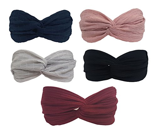 BeautyN 5 Pack Headbands Headwrap Hair Band Elastics Hair Accessories for Women Girl (F26) ()