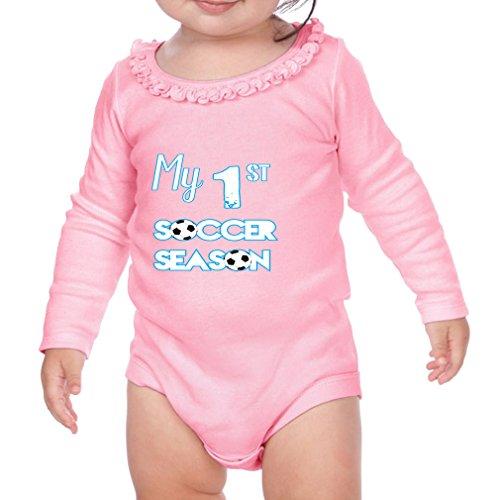 Cute Rascals My First Soccer Season Soccer Cotton Long Sleeve Scoop Neck Girl Sunflower Ruffle Baby Bodysuit - Soft Pink, 18 Months