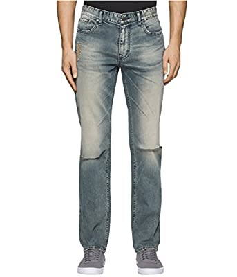 Calvin Klein Men's Slim Straight Ripped Destructed Denim Jean