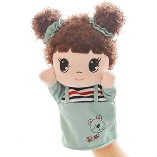Adorable, girl, tissu, marionnettes, dessin animé, modèle, main, marionnettes