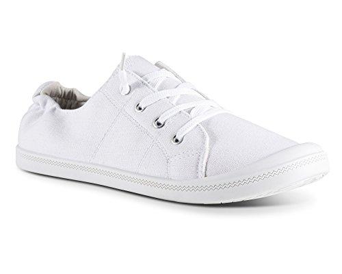 Andrea Lace - Twisted Womens Andrea Slip-On Canvas Sneakers - ANDREA05 White, Size 9
