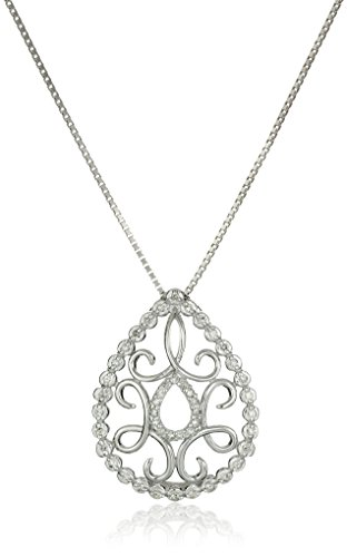 Sterling Silver Diamond Teardrop Pendant Necklace (1/4 cttw, I-J Color, I2-I3 Clarity), 18