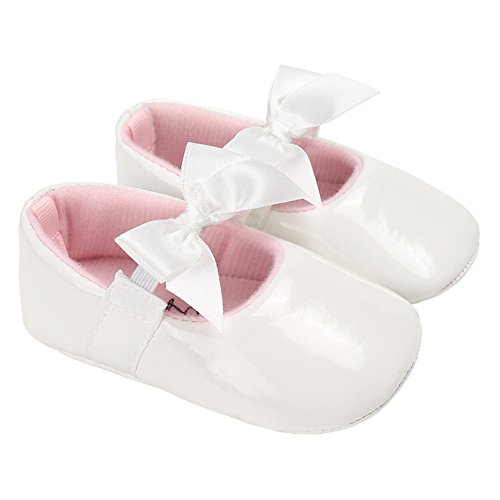 Baby Girls Shiny Patent Leather Christening Baptism Mary Jane Princess Dress Flat Shoes with Bowknot White Size M - Patent Baby Shoes