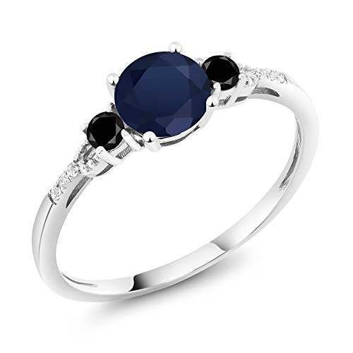 10K White Gold Diamond Accent Three-stone Engagement Ring set with Blue Sapphire Black Diamond 1.18 cttw by Gem Stone King