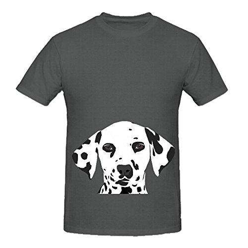 Dalmatian Cute Puppy Dog Mens Crew Neck Big Tall Tee Grey
