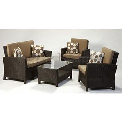 Amazon.com: Harbo Sunset Rattan Garden Sofa Suite-Brown ...