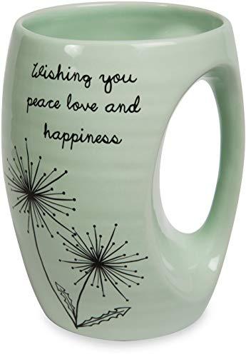 Pavilion - Wishing You Peace Love and Happiness Green Ceramic Hand Warmer Mug