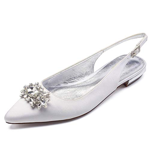 yc White Satén 43 Marfil La Zapatos Bombas Las Mujeres Boda 36 L Tarde Tamaño Moda De Adnxagg